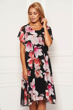 Darkgrey dress daily midi from veil fabric with rounded cleavage with butterfly sleeves with floral print