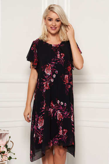 Black dress daily midi from veil fabric with rounded cleavage with butterfly sleeves with floral print