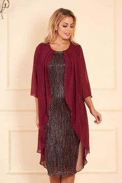 Burgundy dress elegant occasional midi pencil with veil sleeves voile overlay short sleeves