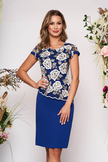Blue dress elegant midi pencil lace overlay short sleeves