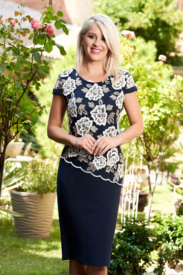 Darkblue dress elegant midi pencil lace overlay short sleeves