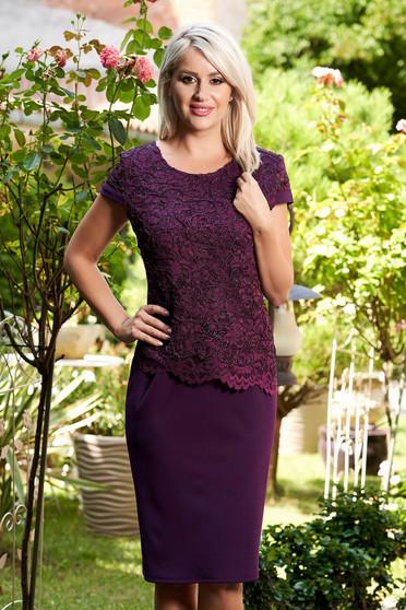 Purple elegant dress short sleeve thin fabric lace overlay midi straight