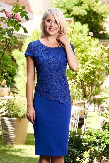 Blue elegant dress short sleeve thin fabric lace overlay midi straight