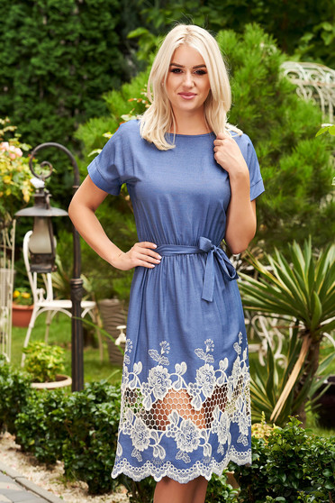 StarShinerS blue dress daily midi denim detachable cord with rounded cleavage short sleeves
