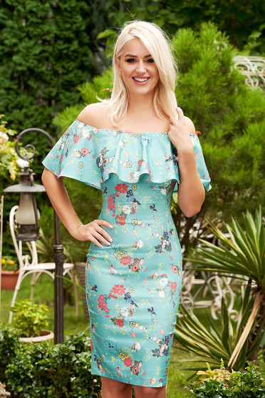StarShinerS green dress elegant short cut pencil cotton with floral print naked shoulders