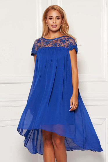 Blue dress elegant daily short cut flared from veil fabric short sleeves neckline
