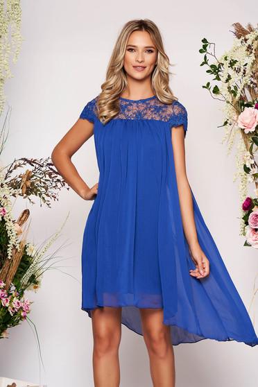 Blue dress elegant daily short cut flared from veil fabric short sleeves neckline