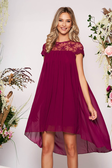 Purple dress elegant daily short cut flared from veil fabric short sleeves neckline