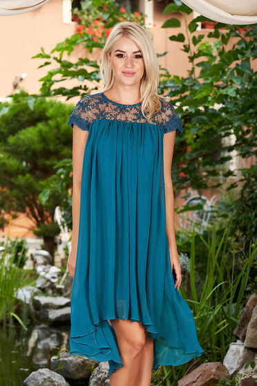 Turquoise dress elegant daily short cut flared from veil fabric short sleeves neckline