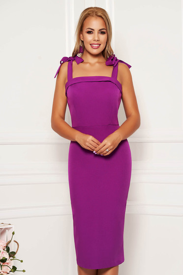 Purple dress occasional elegant midi pencil tied with bow cloth