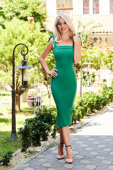 Green dress occasional elegant midi pencil tied with bow cloth