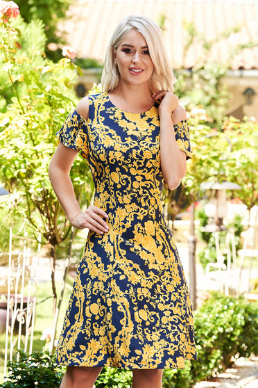 Darkblue dress daily short cut cloche with graphic details naked shoulders without clothing