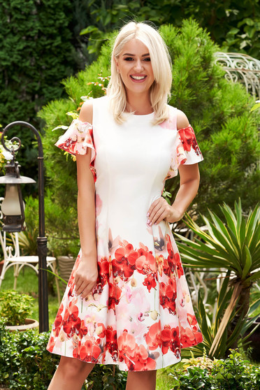 Red dress daily short cut cloche naked shoulders with floral print with ruffled sleeves