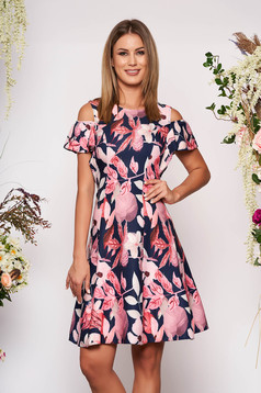 Darkblue dress daily short cut cloche naked shoulders with floral print with ruffled sleeves