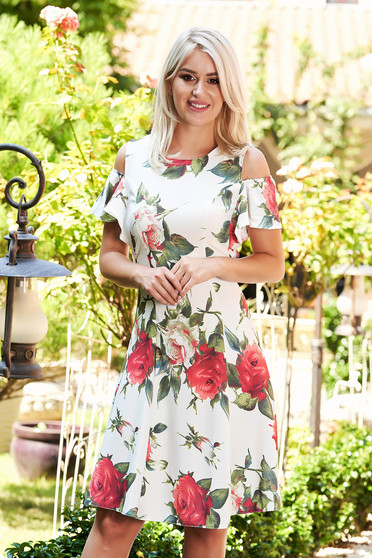 White dress daily short cut cloche naked shoulders with floral print with ruffled sleeves