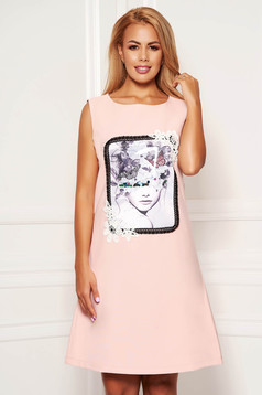 Pink dress daily short cut a-line cloth with pockets sleeveless with graphic details