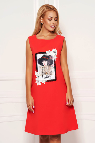Red dress daily short cut a-line cloth with pockets sleeveless with graphic details