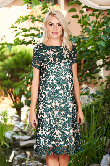 Green dress elegant occasional midi straight laced with inside lining