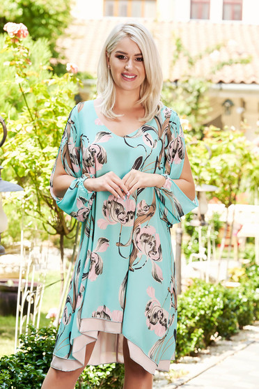 StarShinerS green dress daily short cut flared from veil fabric long sleeved with cut-out sleeves with floral print