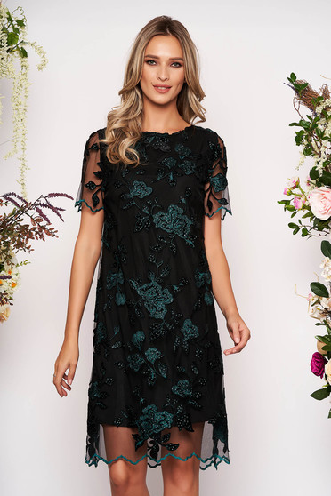 Darkgreen dress elegant occasional midi straight laced with inside lining