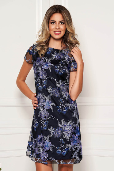 Darkblue dress elegant short cut laced short sleeves with rounded cleavage