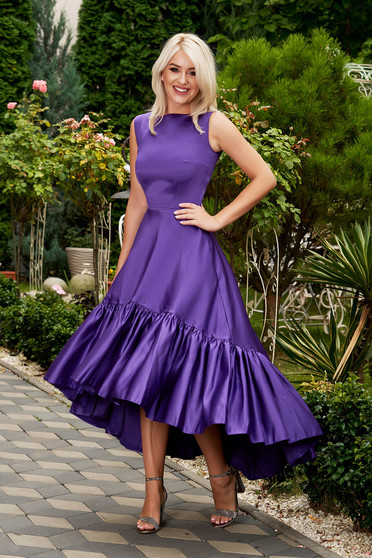 Purple dress elegant occasional midi asymmetrical from satin with pockets sleeveless