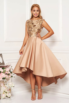 Cream dress occasional midi asymmetrical cloche with sequins from satin sleeveless