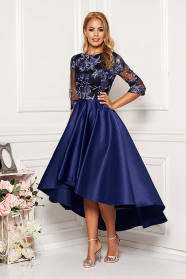 Darkblue dress occasional midi asymmetrical laced from satin with rounded cleavage with 3/4 sleeves