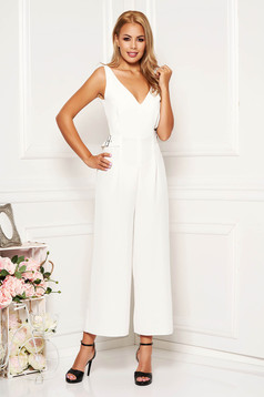 Ivory jumpsuit elegant with deep cleavage sleeveless flared cloth thin fabric