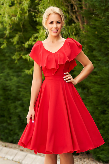 StarShinerS red dress occasional short cut from veil fabric with v-neckline with ruffles on the chest