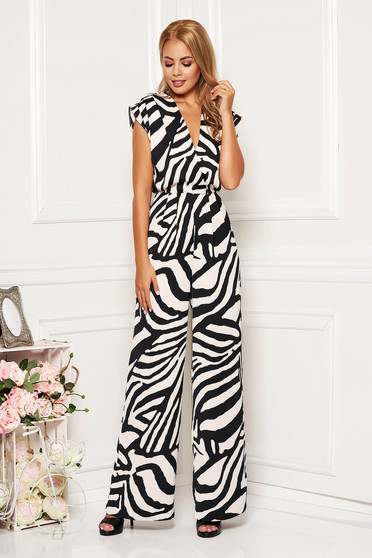 Black jumpsuit occasional long flared from veil fabric with padded shoulders with v-neckline