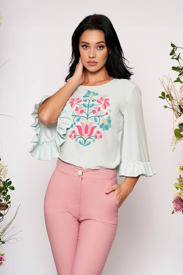 StarShinerS mint women`s blouse elegant flared with floral print with ruffled sleeves