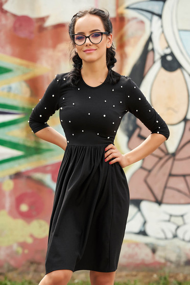 StarShinerS black dress daily short cut cloche with pearls with rounded cleavage