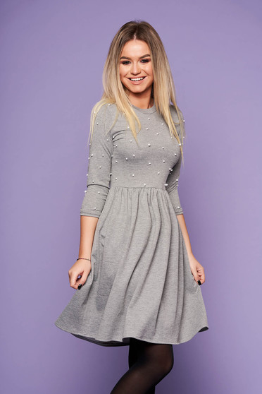 StarShinerS grey dress daily short cut cloche with pearls with rounded cleavage