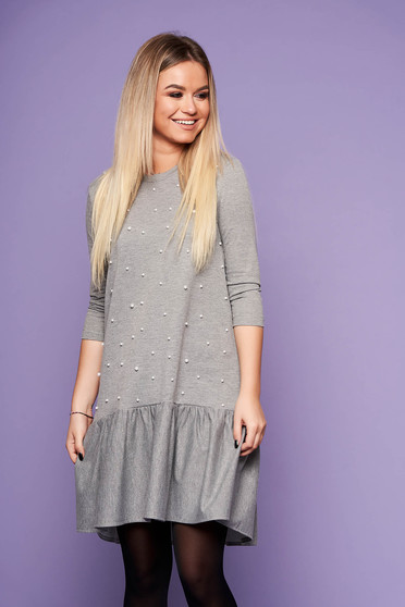 StarShinerS grey dress daily short cut with pearls neckline long sleeved