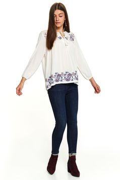 White women`s blouse casual short cut long sleeved flared
