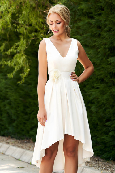 StarShinerS cream dress occasional elegant asymmetrical with v-neckline