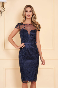 Darkblue dress occasional midi pencil laced accessorized with belt