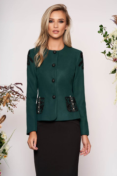 Dirty green jacket occasional short cut tented long sleeve thick fabric with lace details with pearls