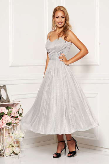 Silver dress occasional midi cloche with straps from veil fabric with push-up bra