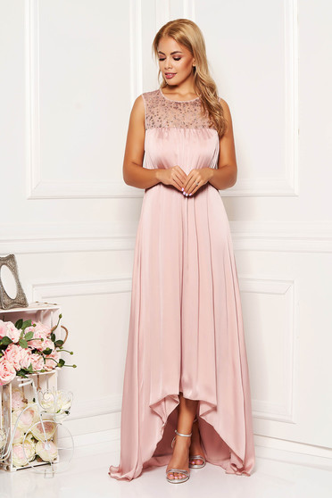 Lightpink dress occasional long asymmetrical from satin with sequin embellished details sleeveless