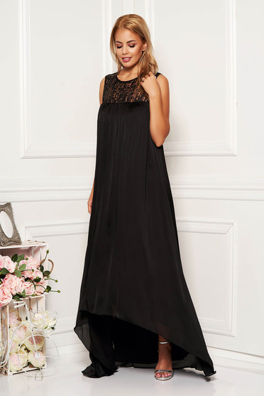 Black dress occasional long asymmetrical from satin with sequin embellished details sleeveless