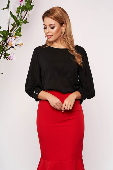 StarShinerS black women`s blouse elegant short cut flared with rounded cleavage airy fabric large sleeves with 3/4 sleeves