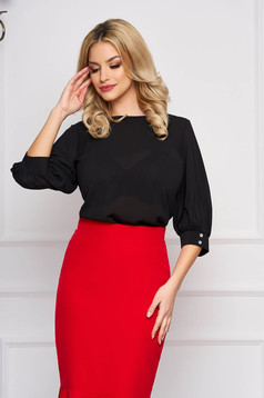 StarShinerS black women`s blouse elegant short cut flared with rounded cleavage airy fabric large sleeves