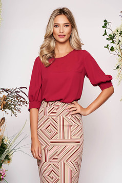 StarShinerS burgundy women`s blouse elegant short cut flared with rounded cleavage airy fabric large sleeves with 3/4 sleeves