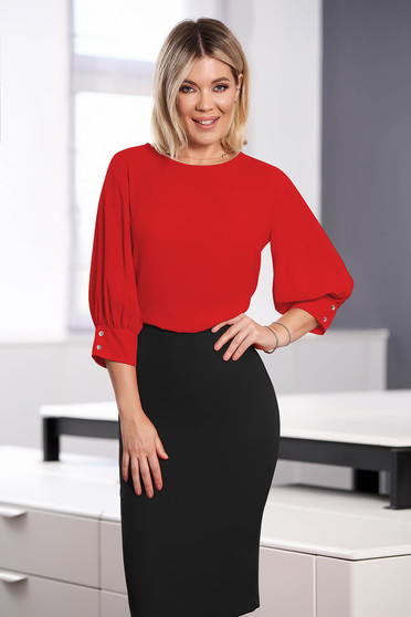 StarShinerS red women`s blouse elegant short cut flared with rounded cleavage airy fabric large sleeves with 3/4 sleeves