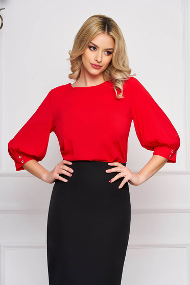 StarShinerS red women`s blouse elegant short cut flared with rounded cleavage airy fabric large sleeves