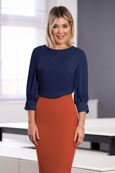 StarShinerS darkblue women`s blouse elegant short cut flared with rounded cleavage airy fabric large sleeves with 3/4 sleeves