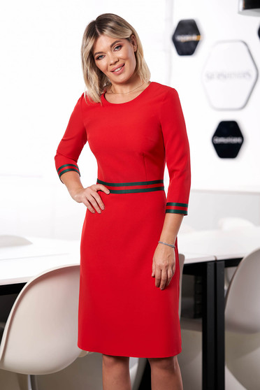 StarShinerS red dress office midi a-line cloth neckline with 3/4 sleeves with inside lining