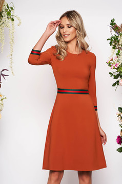 StarShinerS brown dress office midi a-line cloth neckline with 3/4 sleeves